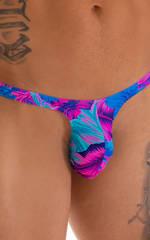 T Back Thong Swimsuit - Bravura Pouch in Tahitian Magenta Aqua 3
