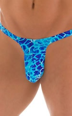 T Back Thong Swimsuit - Bravura Pouch in Super New World Blue 5