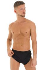 Swimsuit Cover Up Split Running Shorts in Super ThinSKINZ Black 1