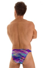 Fitted Bikini Bathing Suit in Semi Sheer Phaser print on mesh F2