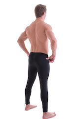 Mens Low Rise Leggings Tights in Black Cotton/Lycra 3