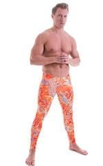 Mens Low Rise Leggings Tights in Vapor Wave Orange 1