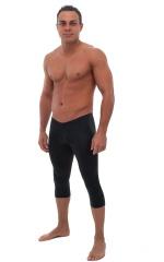 SUPER Low Capri Leggings in Black Cotton Lycra 1