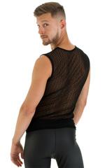 Sleeveless Lycra Muscle Tee in Gloss Black Vixen Mesh 3