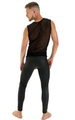Sleeveless Lycra Muscle Tee in Gloss Black Vixen Mesh 5