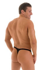 T Back Thong Swimsuit - Bravura Pouch in  Black 3