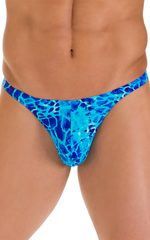 T Back Thong Swimsuit in New World Blue 4