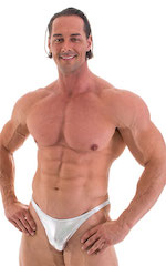 Posing Suit - Competition Bikini Cut in Liquid Silver 5