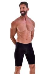 Lycra Bike Length Shorts in Semi Sheer Black Snakeskin Stretch Lace 1