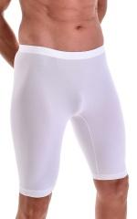 Lycra Bike Length Shorts in Semi Sheer White Powernet 4