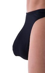 Large Pouch Swimsuit Bikini in Semi Sheer Black Powernet 4