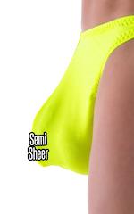 Large Pouch Swimsuit Bikini in Semi Sheer ThinSKINZ Chartreuse 4
