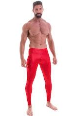 Mens Leggings Tights in Wet Look Red 1