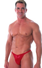 Fitted Bikini Bathing Suit in Wet Look Red 1