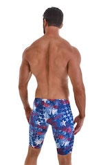 Fitted Pouch Lycra Shorts in American Flag Collage 3