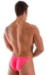 Fitted Pouch - Puckered Back - Posing Suit in Neon Coral 3