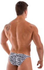 Fitted Pouch Puckered Back Bikini Swimsuit in Zebra 3