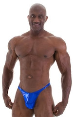 Fitted Pouch - Puckered Back - Posing Suit in Metallic Royal Blue 5
