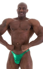 Fitted Pouch - Puckered Back - Posing Suit in Metallic Kelly Green 1