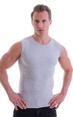 Sleeveless Lycra Muscle Tee in Heather Grey Cotton-Lycra 1