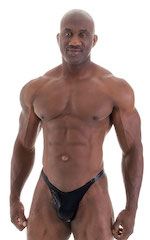 Bodybuilder Posing Suit - Narrow Back in Metallic Black 1