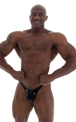 Posing Suit - Fitted Pouch - Puckered Back in Metallic Black 5