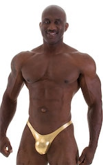 Posing Suit - Fitted Pouch - Puckered Back in Metallic Gold 1