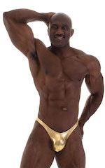Posing Suit - Fitted Pouch - Puckered Back in Metallic Gold 4