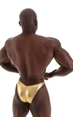 Posing Suit - Fitted Pouch - Puckered Back in Metallic Gold 3