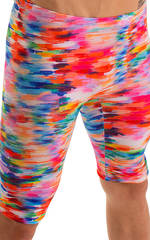 Lycra Bike Length Shorts in Watercolor Strokes 3
