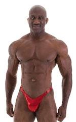 Bodybuilder Posing Suit - Narrow Back in Metallic Volcano Red 5