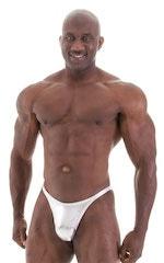 Bodybuilder Posing Suit - Narrow Back in Liquid Silver 4