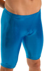 Lycra Bike Length Shorts in Metallic Mystique Ocean 3