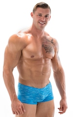 Extreme Low Square Cut Swim Trunks in Aqua Royal Swim Strata 1