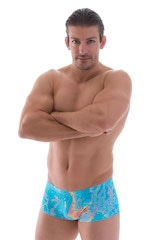 Extreme Low Square Cut Swim Trunks in Vapor Wave Teal 1
