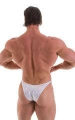 Bodybuilder Posing Suit - Narrow Back in Holographic White Silver 1