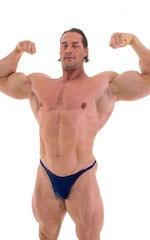 Bodybuilder Posing Suit - Narrow Back in Wet Look Navy 4