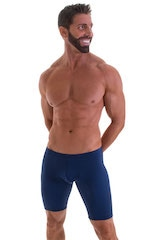 Fitted Pouch Lycra Shorts in Navy Blue 4