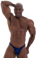Posing Suit - Fitted Pouch - Puckered Back in Wet Look Navy Blue 6