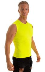 Sleeveless Lycra Muscle Tee in Chartreuse 3