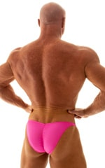 Fitted Pouch - Puckered Back - Posing Suit in Wet Look Hot Pink 3