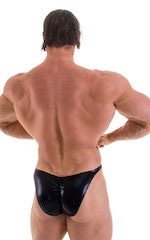 Fitted Pouch - Puckered Back - Posing Suit in Metallic Black 3