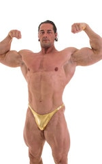 Fitted Pouch - Puckered Back - Posing Suit in Metallic Liquid Gold 3