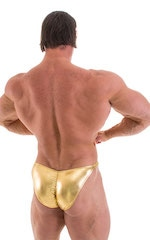 Fitted Pouch - Puckered Back - Posing Suit in Metallic Liquid Gold 4