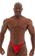 Posing Suit - Competition Bikini Cut in Metallic Volcano Red 5