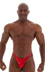 Posing Suit - Competition Bikini Cut in Metallic Volcano Red 5