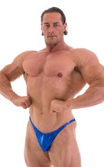 Fitted Pouch - Puckered Back - Posing Suit in Metallic Royal Blue 4