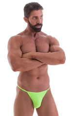 Smooth Pouch Skinny Sides Swim Thong in ThinSKINZ Neon Lime 1