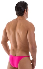 Stuffit Pouch Half Back Tanning Swimsuit in Semi Sheer ThinSKINZ Neon Pink 3