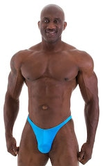 Fitted Pouch - Puckered Back - Posing Suit in Wet Look Turquoise 5